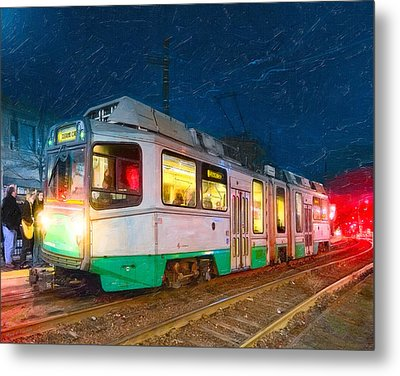 Taking The T At Night In Boston Metal Print by Mark E Tisdale
