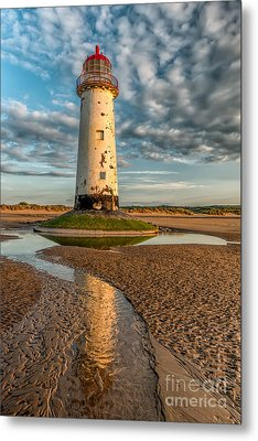 Talacre Lighthouse Sunset Metal Print by Adrian Evans