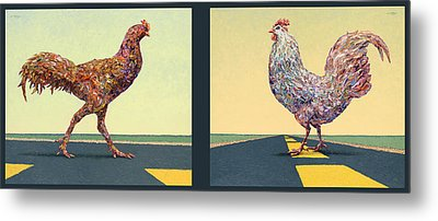 Tale Of Two Chickens Metal Print by James W Johnson