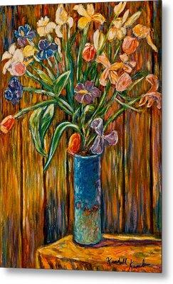 Tall Blue Vase Metal Print by Kendall Kessler