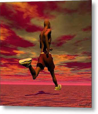 Tall Runner Metal Print by Walter Oliver Neal