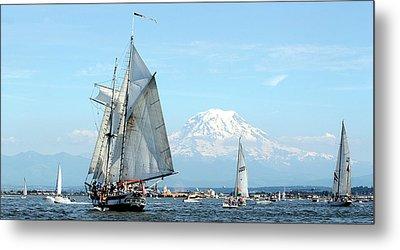 Tall Ship And Mount Rainier Metal Print