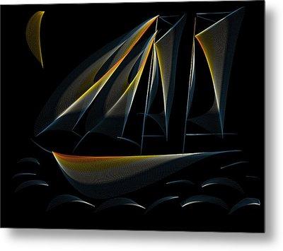 Tall Ship Dark Night Metal Print