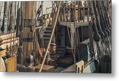 Tall Ship Kalmar Nyckel Ropes Metal Print by Dapixara Art