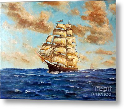 Tall Ship On The South Sea Metal Print by Lee Piper