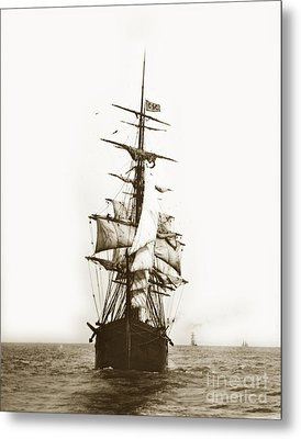 Metal Print featuring the photograph Tall Ship Sailing Out Of San Francisco California Circa 1900 by California Views Mr Pat Hathaway Archives
