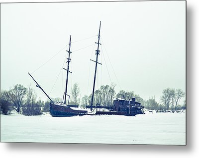 Tall Shipp At Jordan Marina Metal Print by Nick Mares