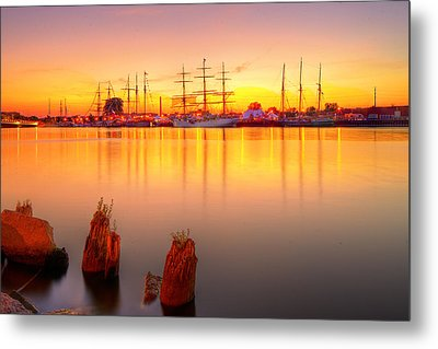 Tall Ships At Bay Metal Print by Fuad Azmat