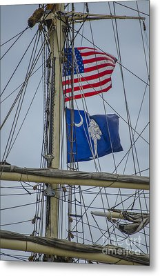 Metal Print featuring the photograph Tall Ships Flags by Dale Powell