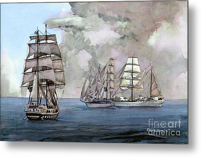 Tall Ships Off Newport Metal Print by Steve Hamlin