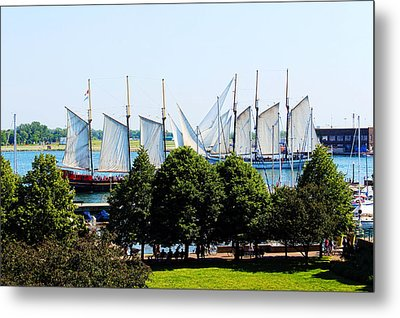 Tall Ships Passing Metal Print by Nicky Jameson