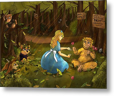 Metal Print featuring the painting Tammy And The Baby Hoargg by Reynold Jay