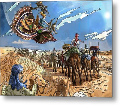 Metal Print featuring the painting Tammy And The Flying Carpet by Reynold Jay
