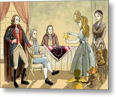 Metal Print featuring the painting Tammy Meets Betsy Ross And George Washington by Reynold Jay