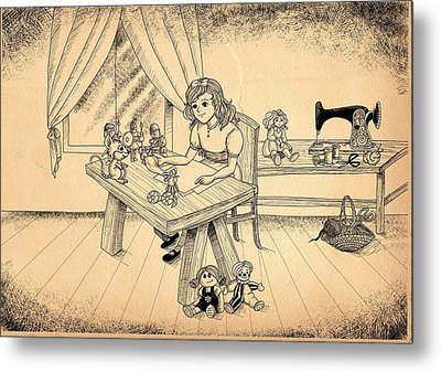 Metal Print featuring the drawing Tammy Meets Alfred The Mouse by Reynold Jay