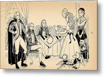 Metal Print featuring the drawing Tammy Meets Betsy Ross by Reynold Jay