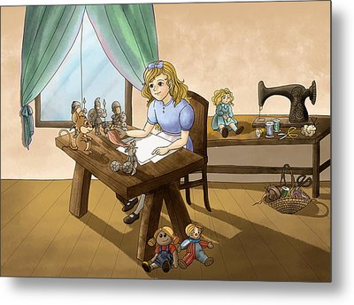 Metal Print featuring the painting Tammy The Little Doll Girl  by Reynold Jay