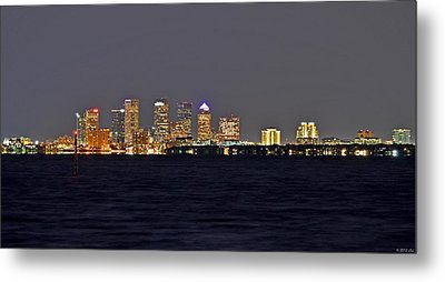 Metal Print featuring the photograph Tampa City Skyline At Night 7 November 2012 by Jeff at JSJ Photography