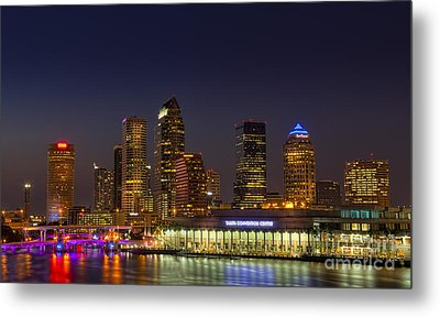 Tampa Lights At Dusk Metal Print