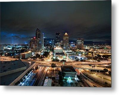 Tampa Skyline With Lightning Metal Print