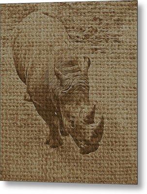 Tan Rhino Metal Print