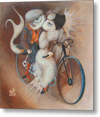 Metal Print featuring the painting Tandem by Marina Gnetetsky