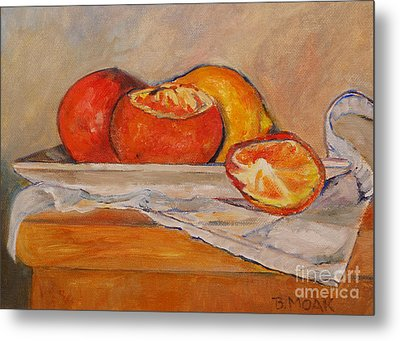 Tangerines With Lemon Metal Print