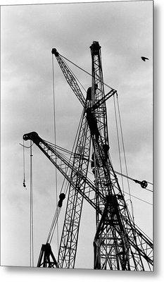 Tangled Crane Booms Metal Print