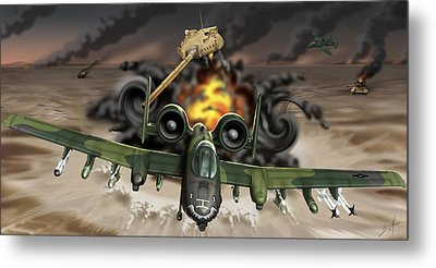 Tank Plinking With The A-10 Metal Print by Barry Munden