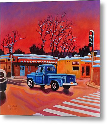 Taos Blue Truck At Dusk Metal Print by Art West