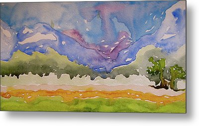Metal Print featuring the painting Taos Fields by Beverley Harper Tinsley