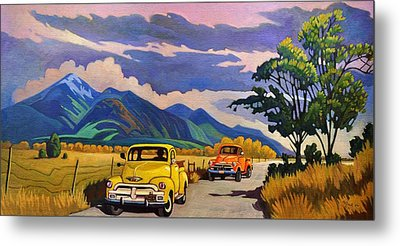 Metal Print featuring the painting Taos Joy Ride With Yellow And Orange Trucks by Art West
