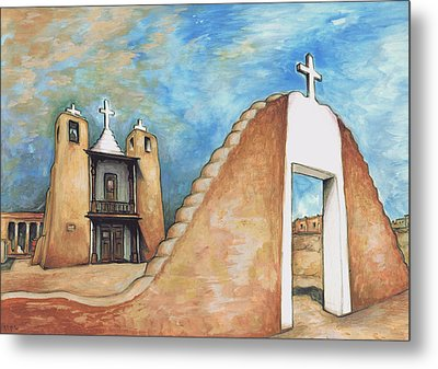 Taos Pueblo New Mexico - Watercolor Art Metal Print by Art America Gallery Peter Potter