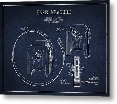 Tape Measure Patent Drawing From 1906 Metal Print by Aged Pixel