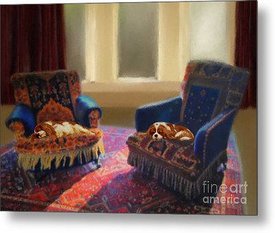 Tapestry Chairs Daydreaming Cavaliers Metal Print by Magna Carta