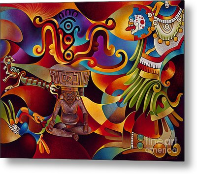 Tapestry Of Gods - Huehueteotl Metal Print by Ricardo Chavez-Mendez