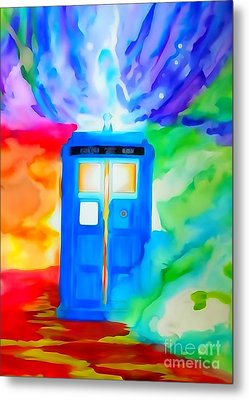 Tardis Watercolor Edition Metal Print