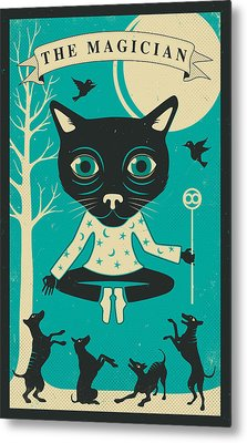 Tarot Card Cat The Magician Metal Print by Jazzberry Blue
