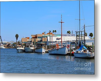 Metal Print featuring the painting Tarpon Springs Boats by Jeanne Forsythe