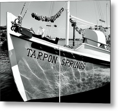 Tarpon Springs Spongeboat Black And White Metal Print by Benjamin Yeager