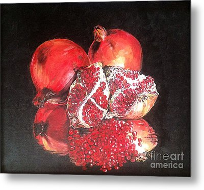 Metal Print featuring the painting Taste Of Red by Iya Carson
