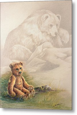 Metal Print featuring the drawing Tattered Bear by Judi Quelland