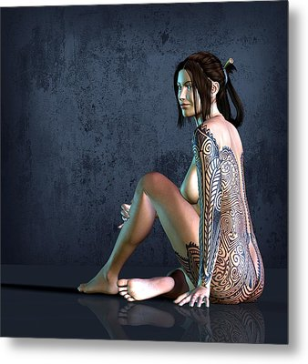 Tattooed Nude 3 Metal Print by Kaylee Mason