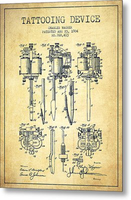 Tattooing Machine Patent From 1904 - Vintage Metal Print by Aged Pixel