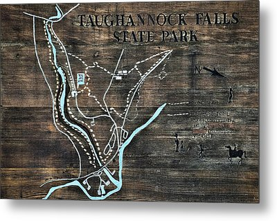 Taughannock Falls State Park Trail Map Sign Metal Print by Christina Rollo