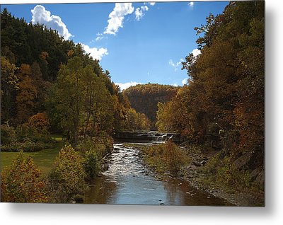 Metal Print featuring the photograph Taughannock Lower Falls Ithaca New York by Paul Ge