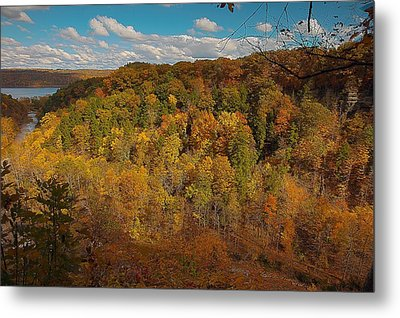 Metal Print featuring the photograph Taughannock River Canyon In Colorful Fall Ithaca New York II by Paul Ge