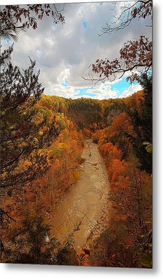 Metal Print featuring the painting Taughannock River Canyon In Colorful Fall Ithaca New York IIi by Paul Ge
