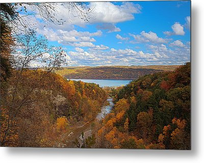 Metal Print featuring the painting Taughannock River Canyon In Colorful Fall Ithaca New York Iv by Paul Ge