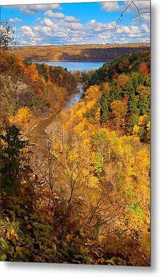Metal Print featuring the photograph Taughannock River Canyon In Colorful Fall Ithaca New York by Paul Ge